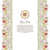 Πρότυπο ευχετήριων καρτών με τη ζωηρόχρωμη διακόσμηση λουλουδιών Στοκ Εικόνες