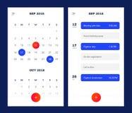 Πρότυπο ημερολογιακής εφαρμογής με για να κάνει τον κατάλογο και τους στόχους UI UX Σχέδιο για το κινητό τηλέφωνο Για να κάνει Ap Ελεύθερη απεικόνιση δικαιώματος