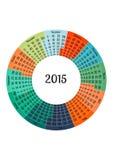 Πρότυπο ημερολογιακού 2015 έτους κύκλων Στοκ Φωτογραφία