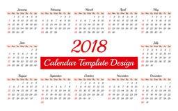 Πρότυπο ημερολογιακών 2018 καθημερινό αρμόδιων για το σχεδιασμό Στοκ εικόνα με δικαίωμα ελεύθερης χρήσης