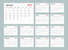 Πρότυπο ημερολογιακών 2018 καθημερινό αρμόδιων για το σχεδιασμό απεικόνιση αποθεμάτων