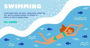 Πρότυπο θάλασσας θερινών κολυμπώντας παραλιών απεικόνιση αποθεμάτων