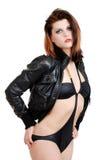 πρότυπο θέτοντας προκλητικό μπανιερό δέρματος σακακιών στοκ φωτογραφίες με δικαίωμα ελεύθερης χρήσης