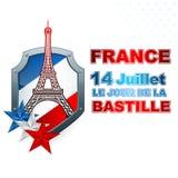 Πρότυπο διακοπών για τη ημέρα της ανεξαρτησίας της Γαλλίας με τα μπλε, άσπρα, κόκκινα χρώματα εθνικών σημαιών στην ασπίδα και τον Στοκ εικόνα με δικαίωμα ελεύθερης χρήσης