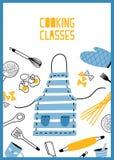 Πρότυπο ιπτάμενων ή αφισών με τα εργαλεία, τα εργαλεία και τον εξοπλισμό κουζινών για την προετοιμασία γευμάτων Χρωματισμένη διαν ελεύθερη απεικόνιση δικαιώματος