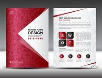 Πρότυπο ιπτάμενων επιχειρησιακών φυλλάδιων A4 στο μέγεθος, κόκκινο σχέδιο κάλυψης ελεύθερη απεικόνιση δικαιώματος