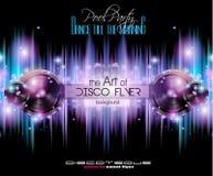Πρότυπο ιπτάμενων λεσχών Disco για το γεγονός νυχτών μουσικής σας απεικόνιση αποθεμάτων