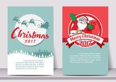 Πρότυπο ιπτάμενων τυπογραφίας καλής χρονιάς Χαρούμενα Χριστούγεννας με την εγγραφή ευχετήρια κάρτα, αφίσα, κάρτα, ετικέτα, σύνολο Στοκ Φωτογραφία