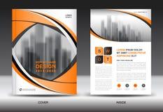 Πρότυπο ιπτάμενων φυλλάδιων ετήσια εκθέσεων, πορτοκαλί σχέδιο κάλυψης απεικόνιση αποθεμάτων