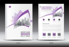 Πρότυπο ιπτάμενων φυλλάδιων ετήσια εκθέσεων, πορφυρό σχέδιο κάλυψης ελεύθερη απεικόνιση δικαιώματος