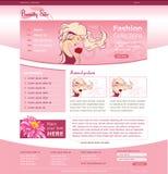 Πρότυπο ιστοχώρου για την επιχείρηση ομορφιάς Στοκ εικόνα με δικαίωμα ελεύθερης χρήσης