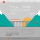Πρότυπο ιστοχώρου ταξιδιωτικής εταιρείας εσωτερικό επιταχυνόμενο ταξίδι τραίνων Διανυσματική απεικόνιση μιας γέφυρας στα βουνά Στοκ Φωτογραφία