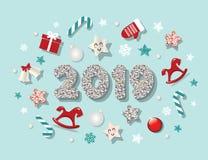 Πρότυπο καλής χρονιάς 2019 Με τα χαριτωμένα διακοσμητικά στοιχεία Για τα εμβλήματα, αφίσες, ευχετήριες κάρτες Χριστουγέννων ελεύθερη απεικόνιση δικαιώματος
