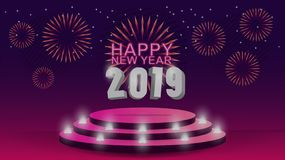2019 πρότυπο καλής χρονιάς με το δημιουργικό σχέδιο υποβάθρου για την κάρτα χαιρετισμών σας, πρόσκληση, αφίσες, φυλλάδιο, εμβλήμα διανυσματική απεικόνιση