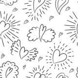 πρότυπο καρδιών άνευ ραφής διανυσματικός τρύγος αγάπης απεικόνισης ανασκόπησης wallpape φτερά Ημέρα βαλεντίνου, ημέρα της μητέρας ελεύθερη απεικόνιση δικαιώματος