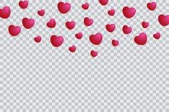 Πρότυπο καρδιών που απομονώνεται στο διαφανές υπόβαθρο, υπόβαθρο βαλεντίνων με την πτώση καρδιών Στοκ εικόνα με δικαίωμα ελεύθερης χρήσης