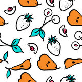πρότυπο καρπού άνευ ραφής Σχέδιο φραουλών και κερασιών Στοκ Εικόνες