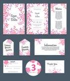 Πρότυπο καρτών γαμήλιας πρόσκλησης Η γαμήλια πρόσκληση, σας ευχαριστεί, εκτός από την ημερομηνία, επιλογές, πληροφορίες, RSVP, ετ απεικόνιση αποθεμάτων