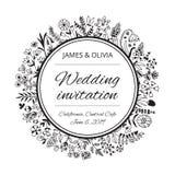 Πρότυπο καρτών γαμήλιας πρόσκλησης με τα λουλούδια και τις εγκαταστάσεις στοκ εικόνες με δικαίωμα ελεύθερης χρήσης
