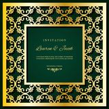 Πρότυπο καρτών γαμήλιας πρόσκλησης με το τέμνον πλαίσιο λέιζερ Τετραγωνικό filigree σχέδιο φακέλων διακοπής Χρυσό ντεκόρ πολυτέλε Στοκ Εικόνα