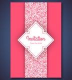 Πρότυπο καρτών γαμήλιας πρόσκλησης με την περίληψη Στοκ Εικόνες