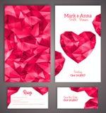 Πρότυπο καρτών γαμήλιας πρόσκλησης με την περίληψη Στοκ Φωτογραφίες