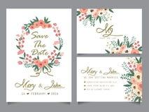 Πρότυπο καρτών γαμήλιας πρόσκλησης Στοκ Εικόνα