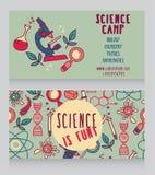 πρότυπο καρτών για το στρατόπεδο επιστήμης διανυσματική απεικόνιση