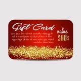 Πρότυπο καρτών δώρων απεικόνισης με τη χρυσή σύσταση σκόνης ελεύθερη απεικόνιση δικαιώματος
