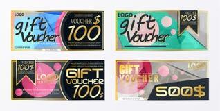 Πρότυπο καρτών προτύπων αποδείξεων δώρων με το διάνυσμα νομίσματος illustr Στοκ Φωτογραφίες