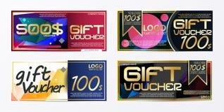 Πρότυπο καρτών προτύπων φυλλάδιων αποδείξεων δώρων με το vecto νομίσματος Στοκ Φωτογραφία