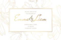Πρότυπο καρτών πρόσκλησης γεγονότος γαμήλιου γάμου Λουλούδια κήπων magnolia άνοιξη Λεπτομερές σχέδιο περιλήψεων ελεύθερη απεικόνιση δικαιώματος
