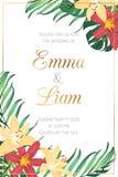 Πρότυπο καρτών πρόσκλησης γεγονότος γαμήλιου γάμου Ο κόκκινος κίτρινος lilly κρίνος ανθίζει τα εξωτικά τροπικά πράσινα φύλλα ζουγ διανυσματική απεικόνιση