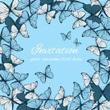 Πρότυπο καρτών πρόσκλησης με τη διακόσμηση πεταλούδων Στοκ φωτογραφία με δικαίωμα ελεύθερης χρήσης