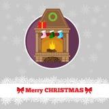 Πρότυπο καρτών Χριστουγέννων με τα κεριά Στοκ Εικόνα