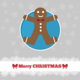 Πρότυπο καρτών Χριστουγέννων με το άτομο ψωμιού πιπεροριζών Στοκ Εικόνες