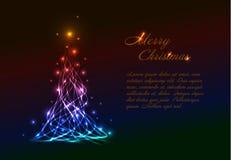 Πρότυπο καρτών Χριστουγέννων με το ελαφρύ χριστουγεννιάτικο δέντρο Στοκ Φωτογραφία