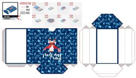 Πρότυπο κιβωτίων εγγράφου ισχυρός Άγιος Βασίλης στο μπλε Διάνυσμα εικόνας αποθεμάτων ελεύθερη απεικόνιση δικαιώματος