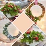 Πρότυπο κολάζ του ντεκόρ Χριστουγέννων με τα χέρια τους Εγχώρια διακόσμηση στεφανιών Χριστουγέννων με τους κλαδίσκους έλατου διαφ Στοκ φωτογραφία με δικαίωμα ελεύθερης χρήσης