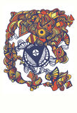 Πρότυπο κομμάτων αποκριών, doodle ύφος Στοκ φωτογραφία με δικαίωμα ελεύθερης χρήσης