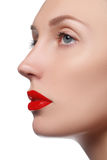 Πρότυπο κορίτσι ομορφιάς την τέλεια σύνθεση που απομονώνεται με πέρα από το λευκό λιμένας Στοκ Φωτογραφίες