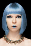Πρότυπο κορίτσι Anime με την μπλε τρίχα Στοκ φωτογραφία με δικαίωμα ελεύθερης χρήσης