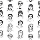 πρότυπο κοριτσιών κινούμενων σχεδίων άνευ ραφής Στοκ Φωτογραφία