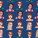 πρότυπο κοριτσιών κινούμενων σχεδίων άνευ ραφής Στοκ Εικόνα