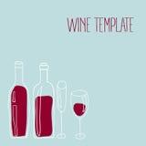 Πρότυπο κρασιού με συρμένα τα χέρι μπουκάλια και τα γυαλιά κρασιού στο μπλε υπόβαθρο ελεύθερη απεικόνιση δικαιώματος