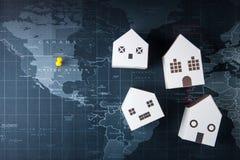 Πρότυπο Λευκών Οίκων εγγράφου στον παγκόσμιο χάρτη Έννοια ακίνητων περιουσιών, ΝΕ Στοκ Φωτογραφίες