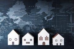 Πρότυπο Λευκών Οίκων εγγράφου στον παγκόσμιο χάρτη Έννοια ακίνητων περιουσιών, ΝΕ Στοκ Εικόνες