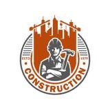 Πρότυπο λογότυπων κατασκευής, κατάλληλο για το κατασκευαστικό εμπορικό σήμα, διανυσματικό σχήμα και εύκολος να εκδώσει στοκ εικόνες