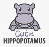 Πρότυπο λογότυπων με το χαριτωμένο hippopotamus Διανυσματικό πρότυπο σχεδίου λογότυπων για το ζωολογικό κήπο, κτηνιατρικές κλινικ διανυσματική απεικόνιση