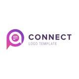 Πρότυπο λογότυπων μηνυμάτων ή σχολίου Εικονίδιο λεκτικών φυσαλίδων με το λογότυπο όγκου καρδιών Η περίληψη συνδέει το λογότυπο Στοκ φωτογραφία με δικαίωμα ελεύθερης χρήσης
